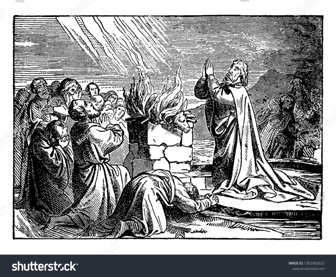 stock-vector-in-the-picture-elijah-and-some-people-are-kneeled-down-before-the-altar-and-praising-the-god-the-1382902622